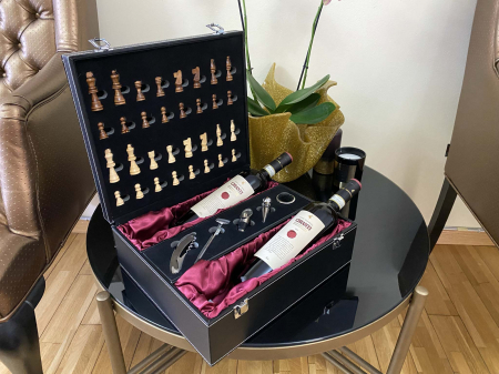 Cutie Dubla Vin Chianti cu Accesorii si Sah by Borealy [4]