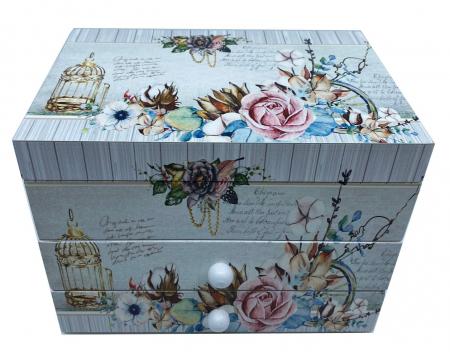 Cutie muzicala din lemn pentru bijuterii Shabby Chic0