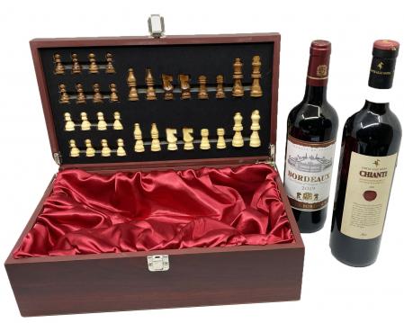 Cutie Vin Dubla si Sah + 2 Sticle de Vin rosu, sec: Chianti si Bordeaux2
