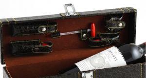 Cutie accesorizată de vin din piele Royal Brown1