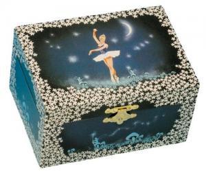 Cutie Bijuterii Muzicală Balerină Albă & Pandativ 18 mm Blue Heart0