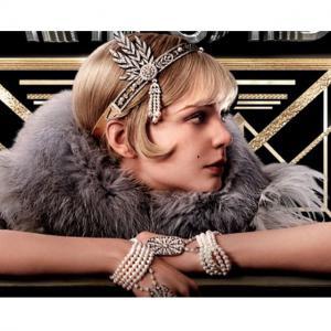 Tiara Borealy Pearls Silk Great Gatsby Luxury Headband4