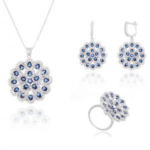 Dantelle Safir Blue Flower Colier, Cercei şi Inel0
