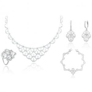 Set Borealy Argint 925 Colier, Cercei, Brăţară şi Inel Dantelle Iris