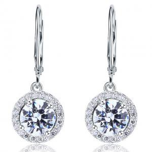 Cercei Borealy Argint 925 Diamonds Halo Dangle