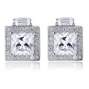 Cercei Borealy Argint 925 Diamonds Halo Square0