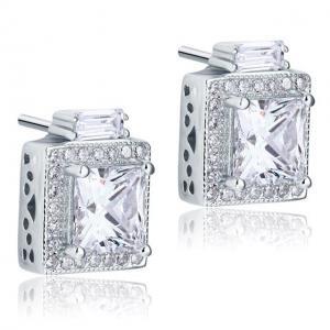 Cercei Borealy Argint 925 Diamonds Halo Square2
