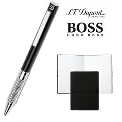 Set Pix S. T. Dupont Bille Black Diamond si Note Pad Black Hugo Boss