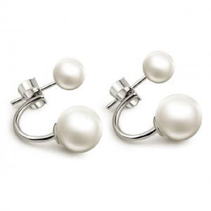 Cercei Double Perle Naturale Silver 9253