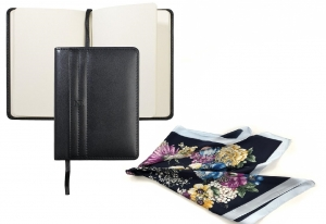 Elegant Black Gift Set Agenda Nina Ricci si Esarfa Flowers - personalizabil0