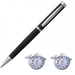 Elegant Premium Gift Set Pix Hugo Boss si Butoni cu Ceas Functional White Quartz