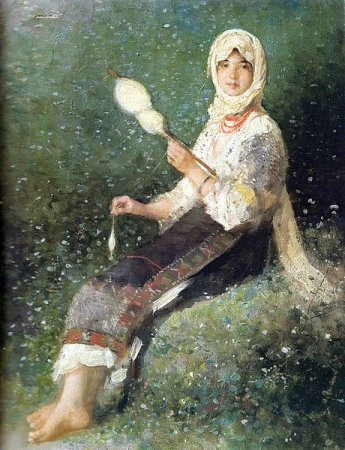 """Esarfa Matase """"Tărancă torcând"""" - Nicolae Grigorescu [0]"""