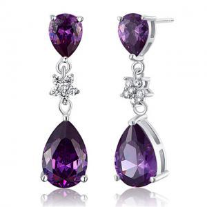 Cercei Borealy Argint 925 Purple Sapphire Flower Drop1