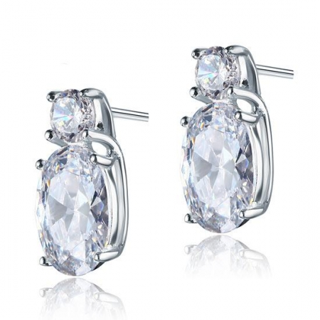 Cercei Argint 925 Double Clear Crystal, by Borealy0