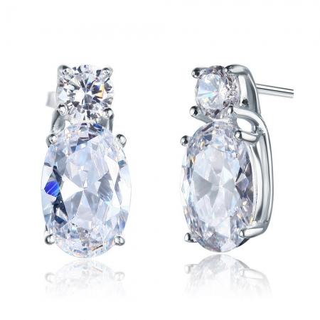 Cercei Argint 925 Double Clear Crystal, by Borealy1