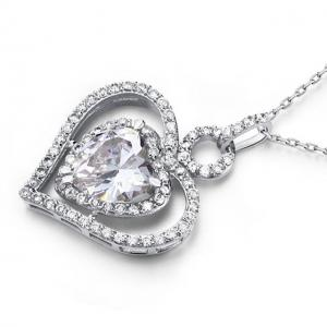 Colier Borealy Argint 925 Simulated Diamond Heart Glow1