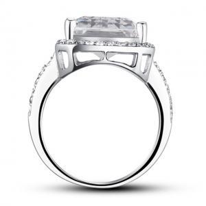 Inel Borealy Argint 925 Simulated Diamond 8.5 Carat Emerald Cut Anniversary Marimea 83
