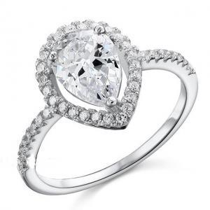 Inel Pear Silver Simulated Diamond Argint 925 Marimea 60