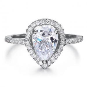 Inel Pear Silver Simulated Diamond Argint 925 Marimea 61