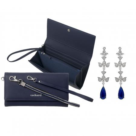 Geantă Poseta Cacharel Iris Bleumarine & Cercei Chandelier Blue Orient