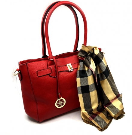 Geanta Red British Style & Esarfa Matase