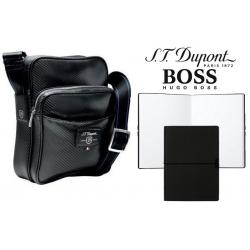 Set Geanta S.T. Dupont Petit Zippe Carbone si Note Pad Black Hugo Boss