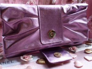 Geanta seara Versace Metalic Lilac Clutch6