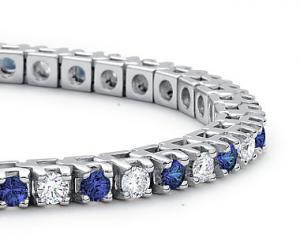 Brăţară Tennis Classic 10 carate Simulated Diamonds & Blue Sapphire by Borealy1