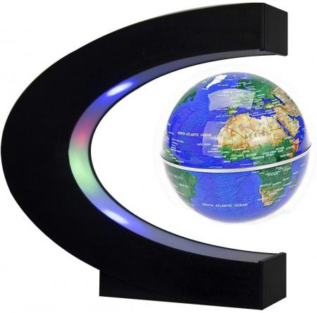 Glob Pământesc Levitaţie Magnetic cu leduri + Cadou Agenda Jurnal de Calatorii Piele Ecologica Maro [1]