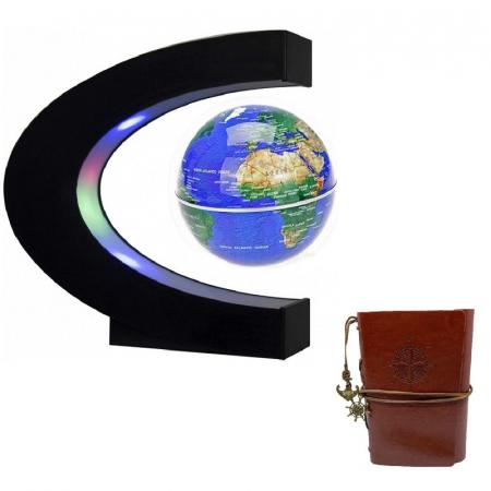 Glob Pământesc Levitaţie Magnetic cu leduri + Cadou Agenda Jurnal de Calatorii Piele Ecologica Maro [0]