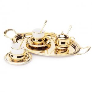 Gold Coffee Set for 2 placat cu aur galben by Chinelli - made in Italy