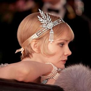 Tiara Borealy Pearls Silk Great Gatsby Luxury Headband3