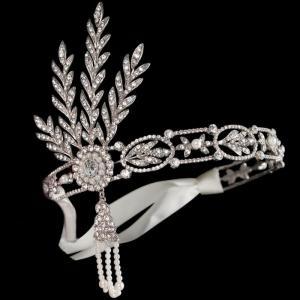 Tiara Borealy Pearls Silk Great Gatsby Luxury Headband2