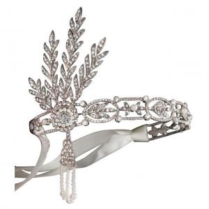 Tiara Borealy Pearls Silk Great Gatsby Luxury Headband0