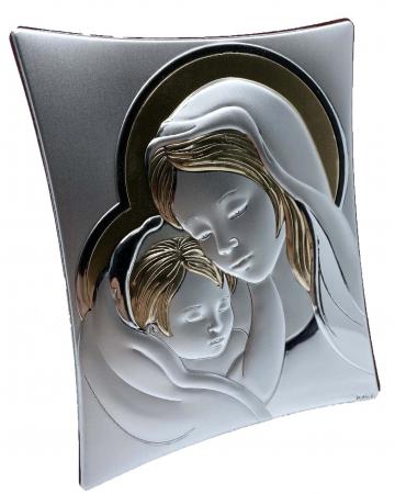 Icoană Maica Domnului si Pruncul, Placata cu Argint si Aur0