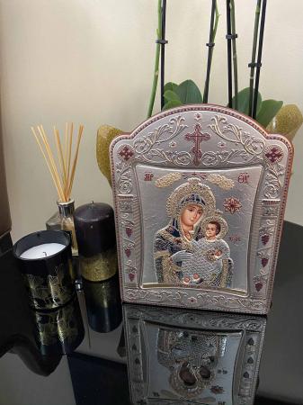 Icoana Fecioara Maria cu Pruncul placata cu aur si argint - 23 x 30 cm [2]