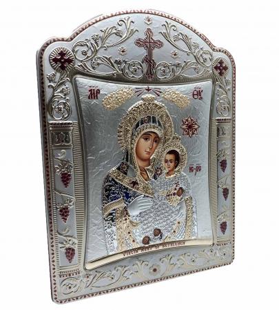 Icoana Fecioara Maria cu Pruncul placata cu aur si argint - 23 x 30 cm [1]
