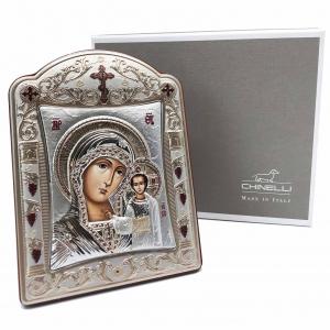 Icoana Fecioara Maria cu Pruncul placata cu aur si argint by Chinelli - Made in Italy 16 x 20 cm [3]