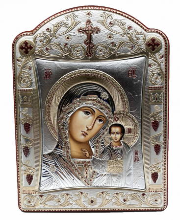 Icoana Fecioara Maria cu Pruncul placata cu aur si argint by Chinelli - Made in Italy 16 x 20 cm [0]