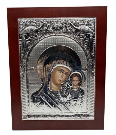 Icoana Mare Fecioara Maria cu Pruncul placata cu argint - Made in Grecia 40 x 30 cm0