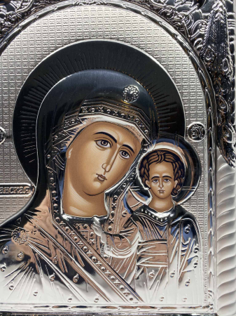 Icoana Mare Fecioara Maria cu Pruncul placata cu argint - Made in Grecia 40 x 30 cm1