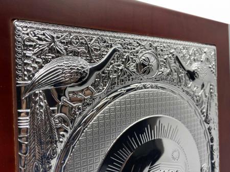 Icoana Mare Fecioara Maria cu Pruncul placata cu argint - Made in Grecia 40 x 30 cm3
