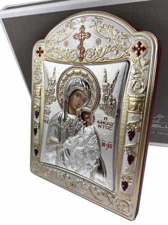 Icoana Fecioara Maria cu Pruncul placata cu aur si argint [2]