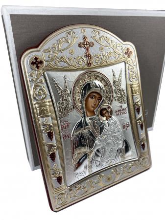 Icoana Fecioara Maria cu Pruncul placata cu aur si argint [1]