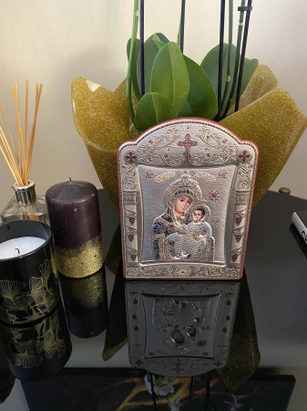 Icoana Fecioara Maria cu Pruncul placata cu aur si argint - 16 x 20 cm2