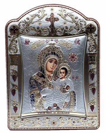 Icoana Fecioara Maria cu Pruncul placata cu aur si argint - 16 x 20 cm0