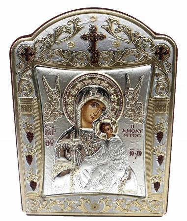 Icoana Fecioara Maria cu Pruncul  si Ingeri placata cu aur si argint - 12 x 15 cm0