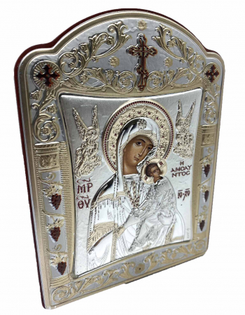 Icoana Fecioara Maria cu Pruncul  si Ingeri placata cu aur si argint - 12 x 15 cm1