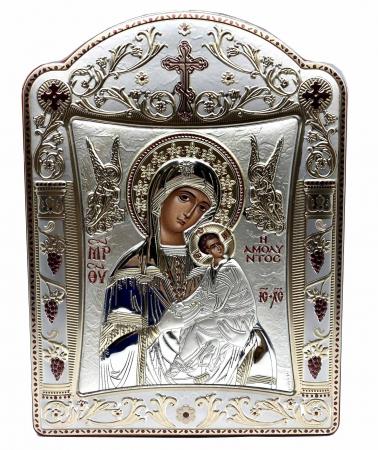 Icoana Fecioara Maria cu Pruncul  si Ingeri placata cu aur si argint -16 x 20 cm1