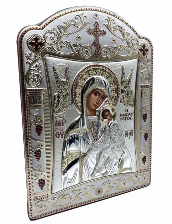 Icoana Fecioara Maria cu Pruncul  si Ingeri placata cu aur si argint - 21 x 26 cm1